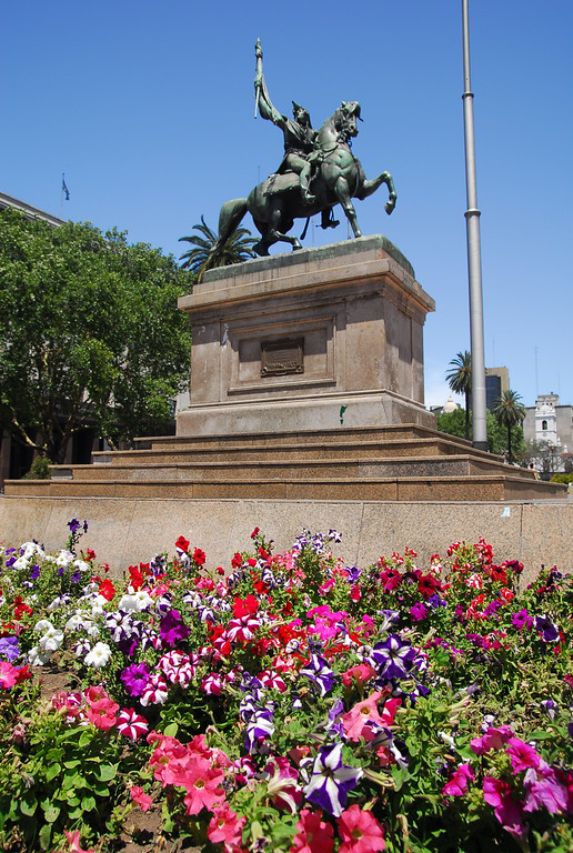 Flowers and Statue at Plaza De Mayo in BA