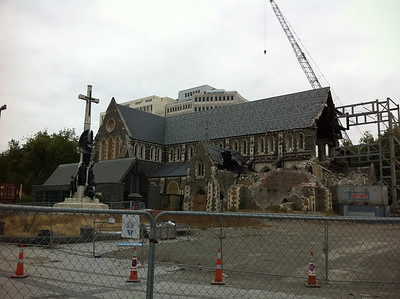 The famous Cathedral in Central Christchurch, now in shambles after the March 2011 earthquake.