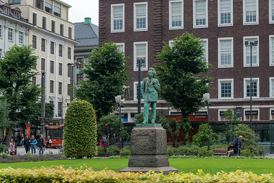 Edvard Grieg statue by Ingebrigt Vik. He was a Norwegian composer and pianist. He is widely considered one of the leading Romantic era composers, and his music is part of the standard classical repertoire worldwide.