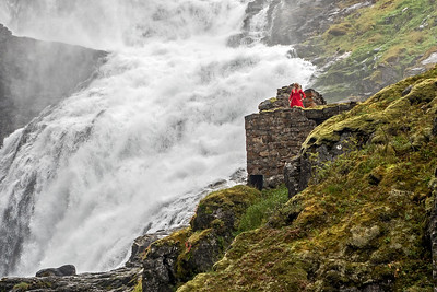 Kjosfossen Waterfall and seductive Huldra