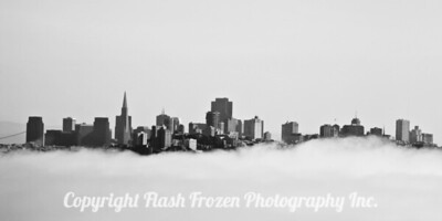 "From the North side of the Golden Gate Bridge (The Marin Headlands) - San Francisco Skyline as the fog rolls in. Fog is a great element in growing grapes. San Francisco is the gateway to Napa, Sonoma and Mendocino Image in Black and White on Kodak Black and White Matte Fine Art Paper 10"" by 5"""