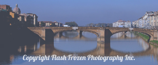 Bridge in Florence near the Pontevecchio on the Arno River - Finished Metallic Emulsion on Canvas