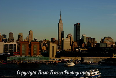 Manhattan Skyline from the Hudson River at Sunset 2004