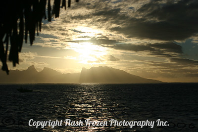 Sunset from Tahiti - View of Moorea French Polynesia 2005