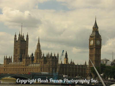 Westminster Abbey and Big  Ben On the Thames River London, England 2006