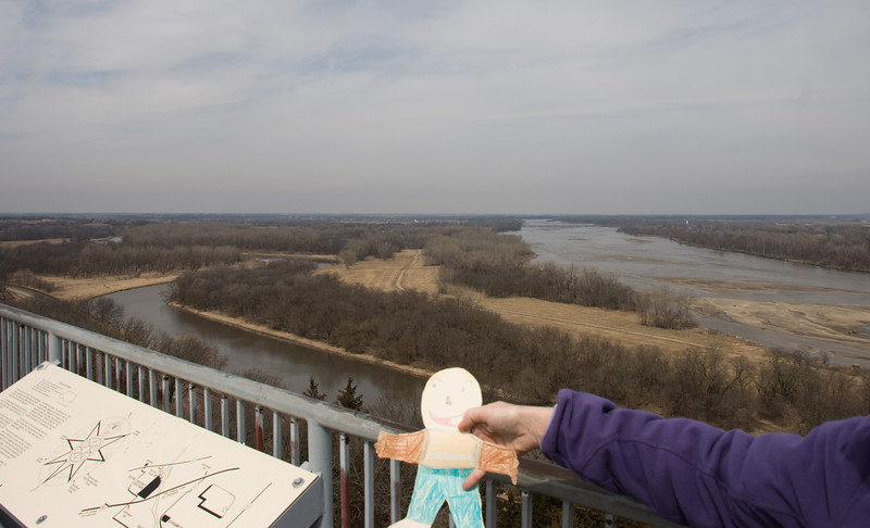 Flat Stanley looks out over the Platte River from the observation tower at Mahoney State Park