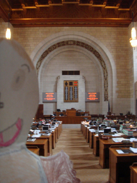 The Norris Legislative Chamber.  Nebraska has the nation's only unicameral (one house) legislature.