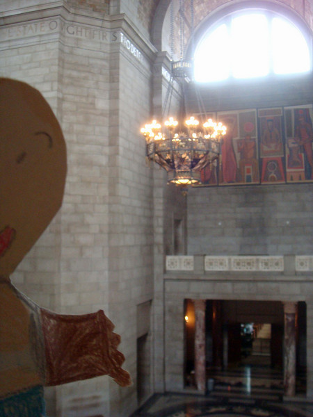 Flat Stanley looks down at the rotunda from the balcony.
