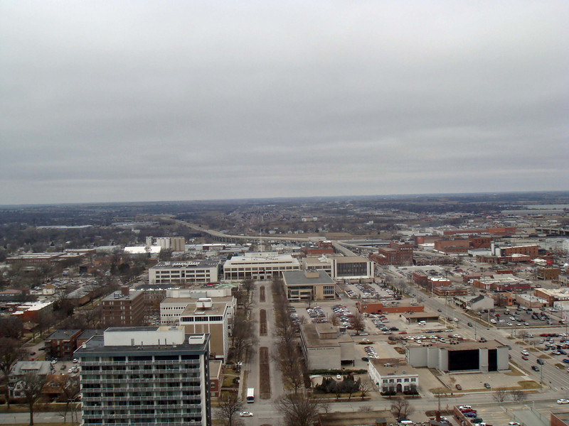 Looking west from the observation deck of the State Capitol in Lincoln, Nebraska