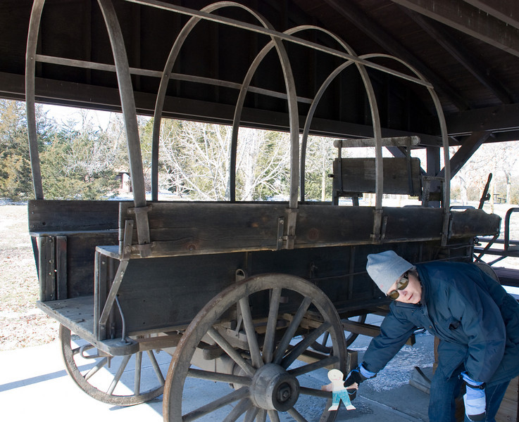 This is a replica of the kind of wagons that traveled the Oregon Trail at Rock Creek Station.