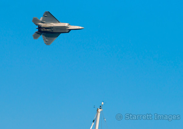F-22 Raptor flying low over our mast.