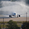 This is inaugural Triangle Flight of Honor receiving water arch salute at RDU - October 7, 2010.