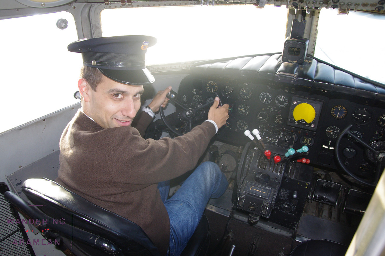 In the cockpit of the DC3 on display at the museum.