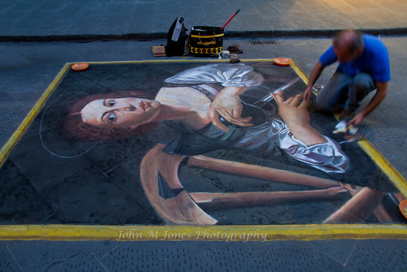 Street artist working in chalk, Florence, Firenze, Italy