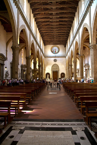 Nave of Basilica di Santa Croce from the Altar, Florence, Firenze, Italy