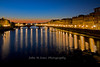 Night scene of Arno River and Ponte alla Carraia, in Florence, Firenze, Italy