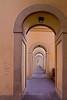 Arcade walkway under Vasari's Corridor near Ponte Vecchio, Florence, Firenze, Italy