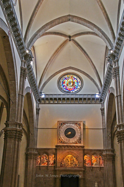 The Duomo clock runs counterclockwise and keeps old Italian time, 24 hours a day starting and ending at sunset, Florence, Firenze, Italy