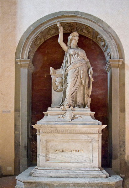 Statue on Niccolini tomb is possible model for Statue of Liberty, Basilica di Santa Croce, Florence, Firenze, Italy