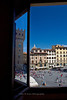 Window reflection at Piazza della Signoria, Florence, Firenze, Italy