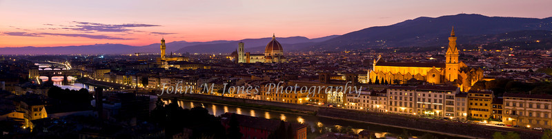 Evening panorama of Florence from Piazza Michelangelo, Florence, Firenze, Italy