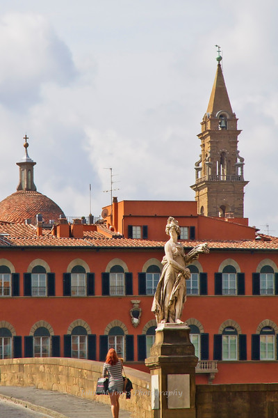 One of the Four Seasons statues on Ponte Santa Trinita added in 1608 for Cosimo II's marriage to Maria of Austria, Florence, Firenze, Italy