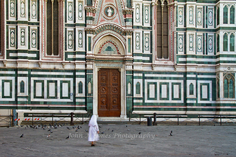 Sister approaching the Duomo in early morning, Florence, Firenze, Italy