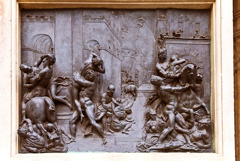Bronze plate on base of the Rape of the Sabine Women statue, Piazza della Signoria, Florence, Firenze, Italy