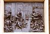 Bronze plate on base of the Rape of the Sabine Women statue, Piazza della Signoria, Florence, Firenze, Italy