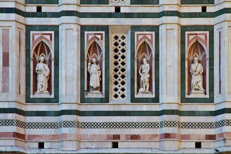 Details of the Campanile façade, Santa Maria del Fiore or the Duomo, Florence, Firenze, Italy