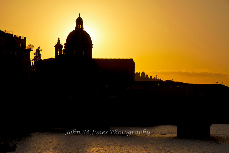 Sunset behind the dome of the Seminario Arcivescovile Maggiore Fiorentino, Florence, Firenze, Italy