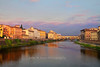 Sunrise scene along the Arno River and the Ponte Vecchio, Florence, Firenze, Italy