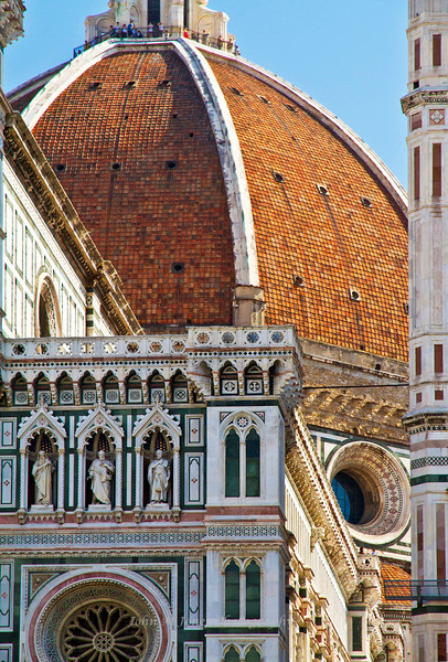 Duomo or Santa Maria del Fiore with climbers on top of Dome