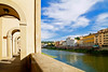 Arno River scene from Ponte Vecchio, Florence, Firenze, Italy