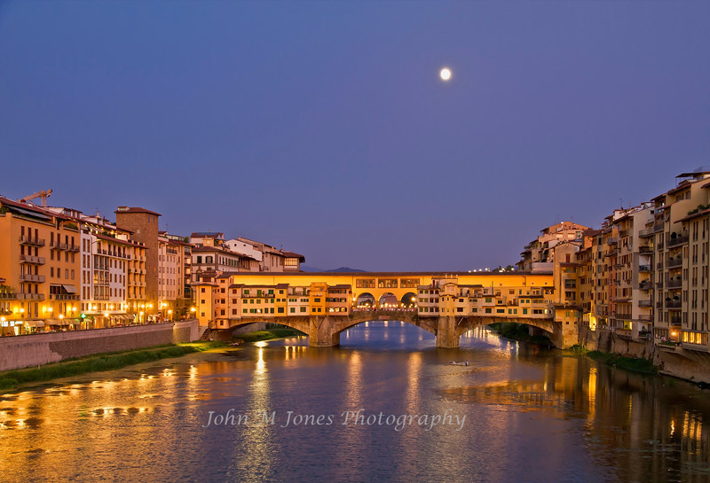 Moonrise over the Arno River and Ponte Vecchio, Florence, Firenze, Italy