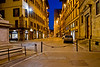 Early morning street scene from Piazza Santa Trinita, Florence, Firenze, Italy