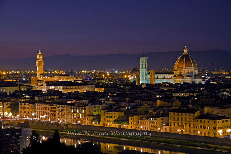 View of Florence at night from Piazza Michelangelo, Firenze, Italy