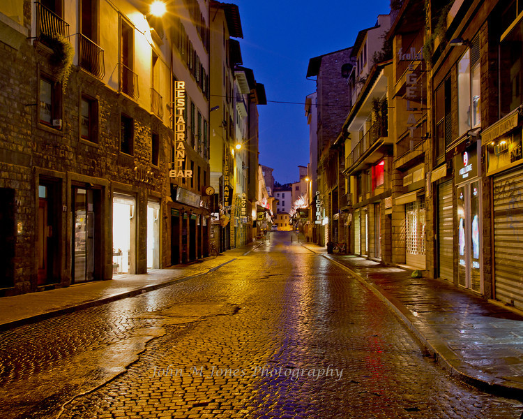 Early morning street scene in Florence, Firenze, Italy
