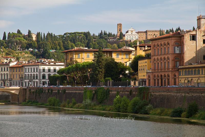 Arno River scene from Ponte Vecchio, Florence, Firenze, Italy