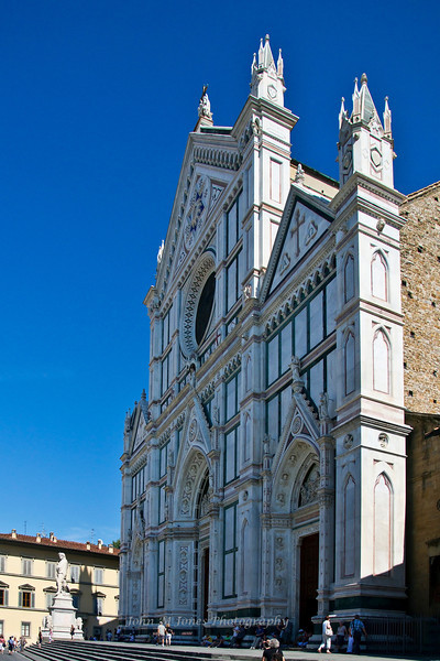 Façade of Basilica di Santa Croce, Florence, Firenze, Italy