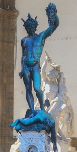 Mythical Perseus stands on the body of Medusa, head in hand. The bronze statue was cast in 1545.