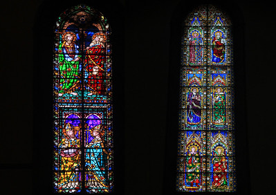 Stained glass art in the Cathedral in Florence, Italy