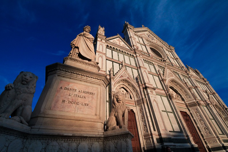Basilica di Santa Croce in fading sunlight at day's end. Florence.