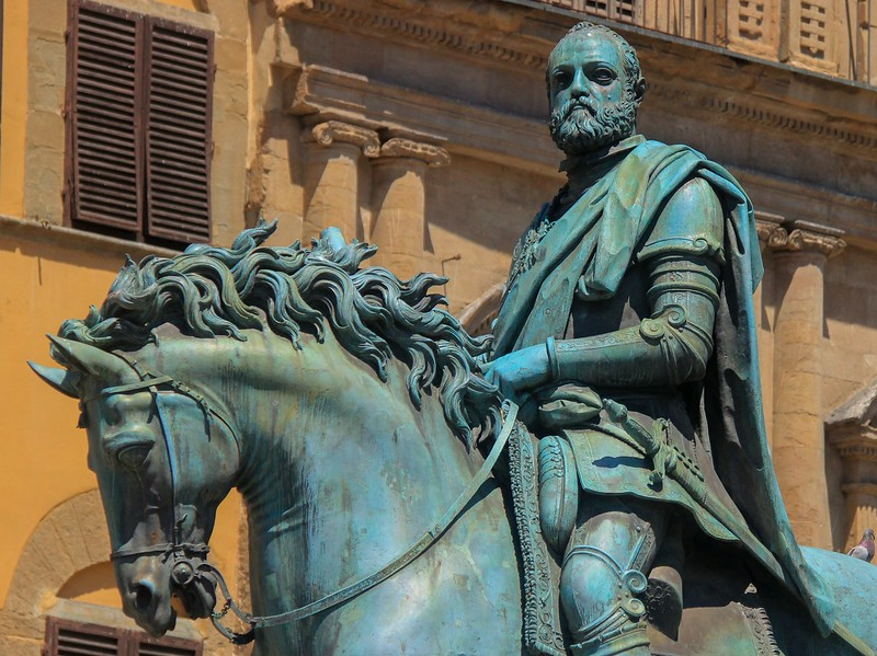 This super-detailed statue of Cosimo, once the leader of Tuscany, was hidden safely in WWII and ceremoniously returned to its proper display pedestal after the war by Allied forces.