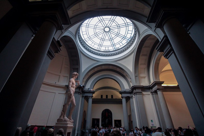The original Michaelangelo's David (seen here) was to be mounted on the BACK END of the Florence Cathedral near the dome -80 feet off the ground. The risk of hoisting it so high and its fine quality convinced commissioners to place it closer to the public. It is one of the most famous carvings of all time.
