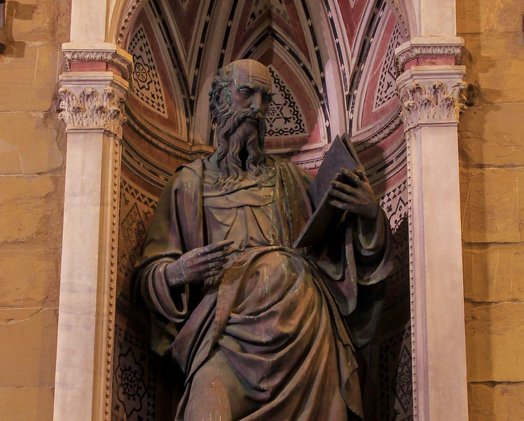 Statue on the facade of Chiesa (church) Orsanmichele, Florence.