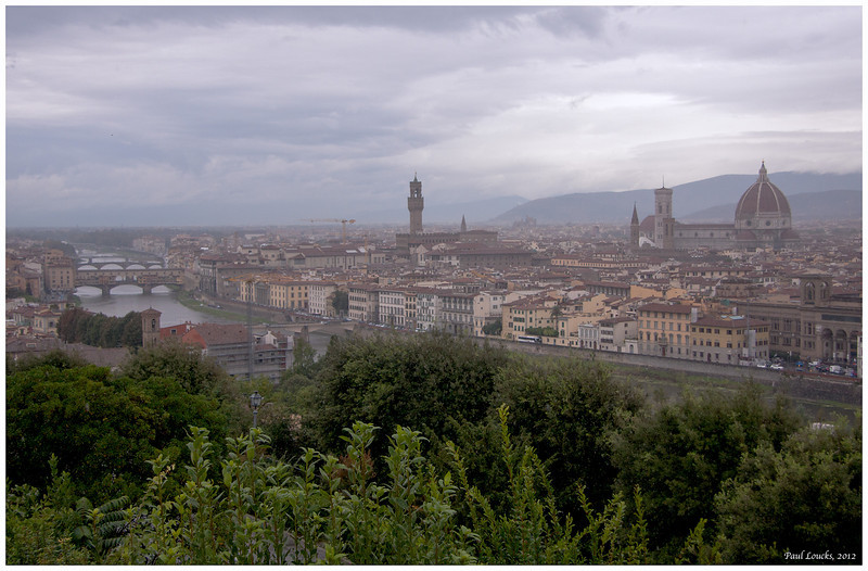Panorama of Florence. The Ponte Vecchio, the Palazzo Vecchio and the Duomo from left to right.