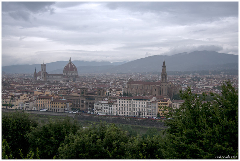 The Duomo and Church of Santa Croce. The River Arno in the foreground.