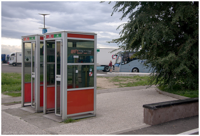 A needed rest stop. The telephone booths are included for my daughter (family intrigue).