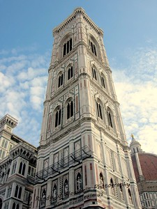 Giotto's bell tower (campanile) stands on the Cathedral square (Piazza del Duomo) in Florence, Italy.
